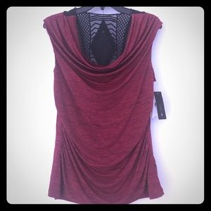Red and black cowl neck top